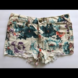 Free People Floral Distressed Shorts - Size 25